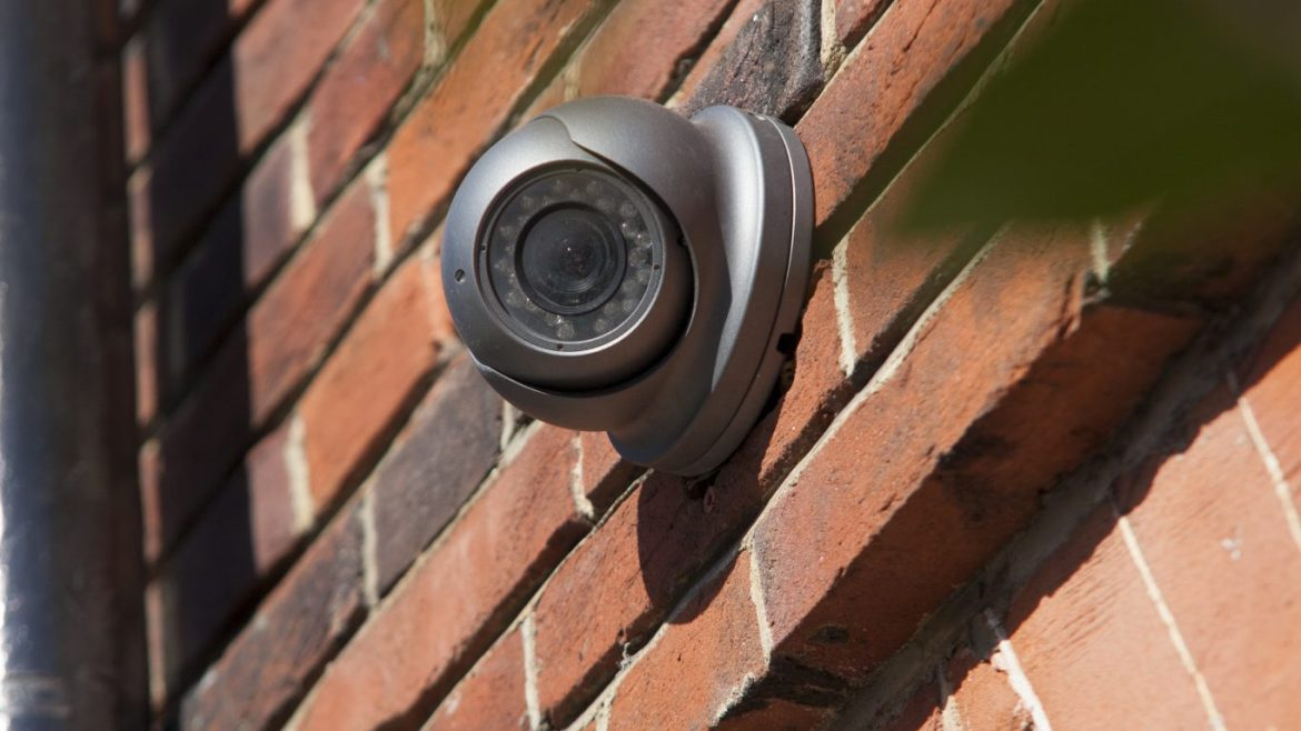 CCTV camera fixed to wall of Kensington home