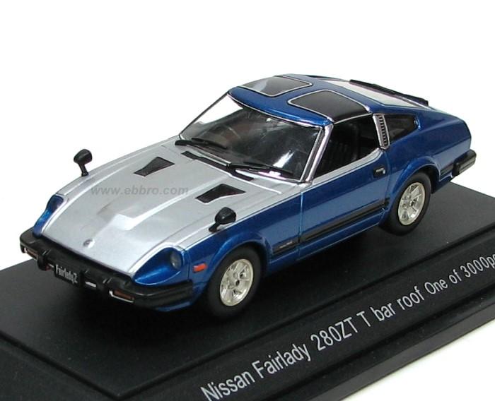 Ebbro 1980 Nissan Fairlady 280ZX Targa Blue Silver 43418 In 143 Scale MDiecast