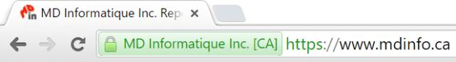 Certificat de sécurité sous Google Chrome MD Informatique Inc.