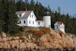 Bass Harbor Head Light in the Fall by Priscilla Keene