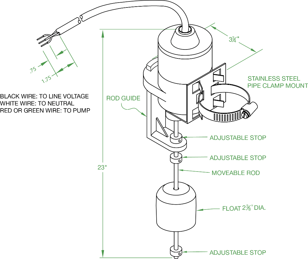 2 Hp Vertical Float Switch