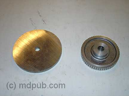 A pully and a disk used to make a hub