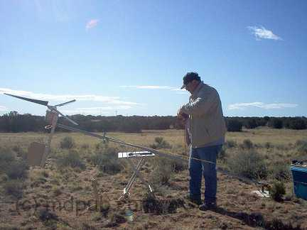 Me setting up the wind turbine