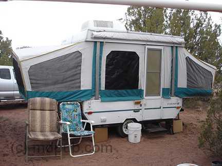 My popup trailer set up in Arizona