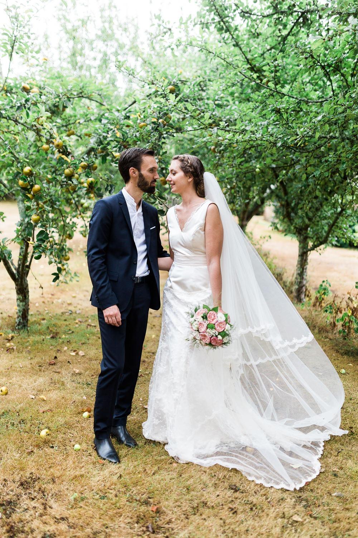 photos de mariage dans un verger pommiers