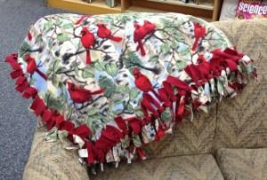 74. Fleece Lap Blanket with Cardinal Print