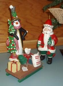 17. Wooden Santa, Penguin and Sled
