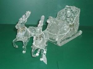 34. Crystal Sleigh with Two Reindeer