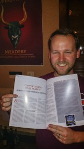 Allen sees his Crowdfunding your Meadery article in print for the first time!