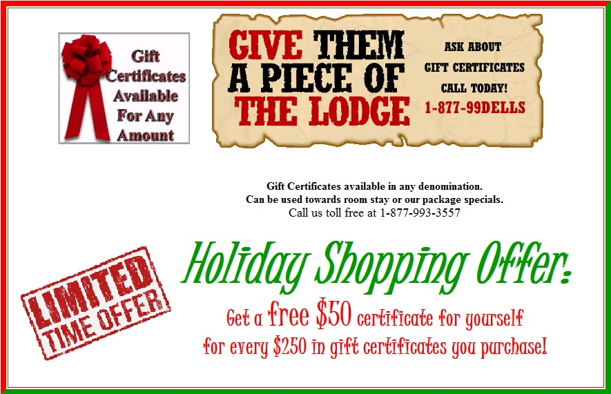 Discount Gift Certificates Special Offer for Christmas at Meadowbrook Resort in Wisconsin Dells