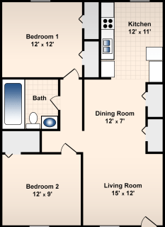 2 Bed / 1 Bath / 850 sq ft / Deposit: $300 / Rent: $600