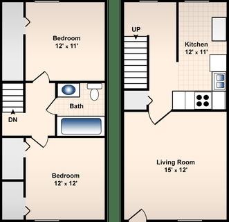 2 Bed / 1 Bath / 950 sq ft / Deposit: $300 / Rent: $650