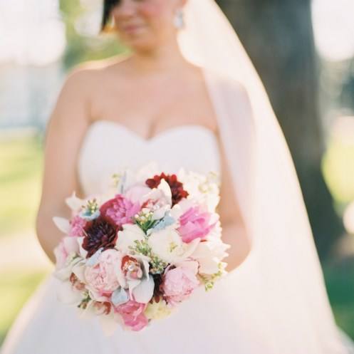 bride and bouquet_pink, burgundy peonies, roses, orchids