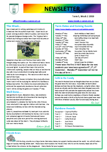 Newsletter Term 5 Week 2
