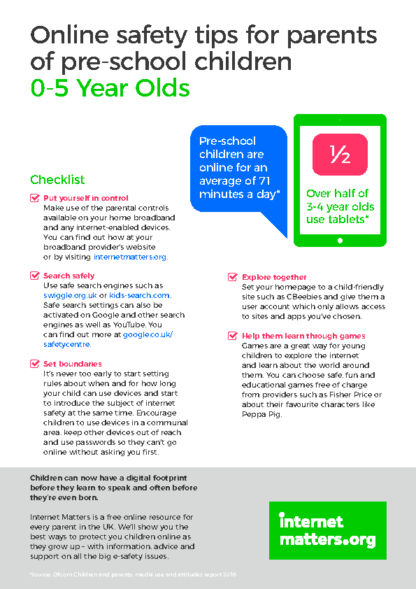 Online Safety Tips for Parents of Pre-School Children