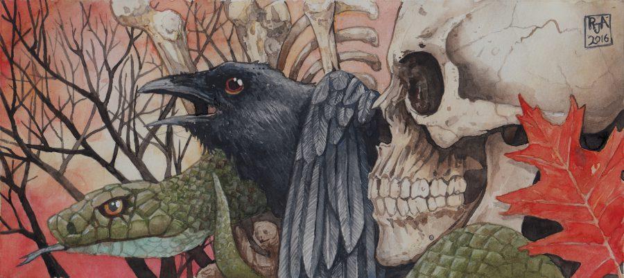 a serpent a raven a skull