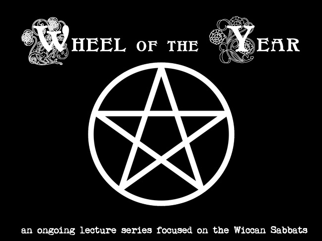 Witchcraft. Wheel of the Year banner with a giant Pentagram, advertising classes on the eight holidays for Pagans taught by Meagan Angus. Pagan Holidays