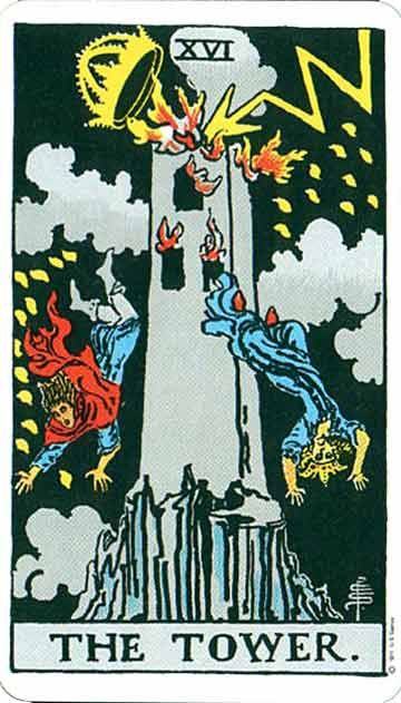 A Tarot card depiction a tall grey tower being struck by lightning. The top of the Tower, which looks like a crown is blasted off. Two people are falling upside down, and the tower is on fire. The Tower Card, Pamela Colman Smith Waite Tarot Deck
