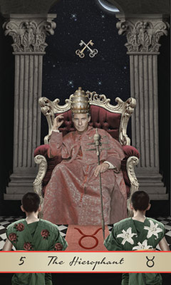 The Hierophant, Lotus Tarot. A haughty looking white man lounges on a golden throne in luxurious red robes, He wears a golden crown and holds a golden scepter. Two people are at his feet wearing robes, One with roses and one with lilies. He sits between two pillars, Two keys are crossed over his head.