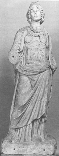 Megalesia. A Galli Priest. A marble statue of an androgynous person with long wavy hair. They are wearing robes and a breastplate.