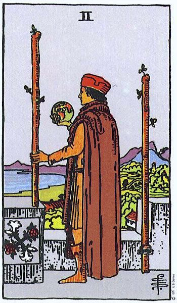 Two of Wands, Smith-Waite Deck
