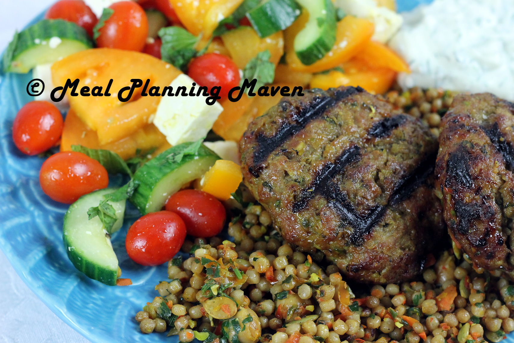 Grilled Middle Eastern Lamb Burgers with Tzatziki