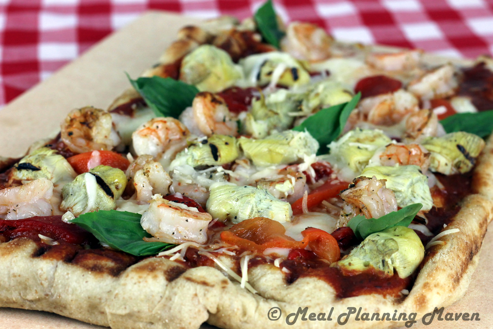 Grilled Shrimp 'n Artichoke Pizza