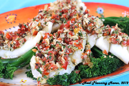 Roasted Cod with Cherry Tomato 'n Artichoke Tapenade