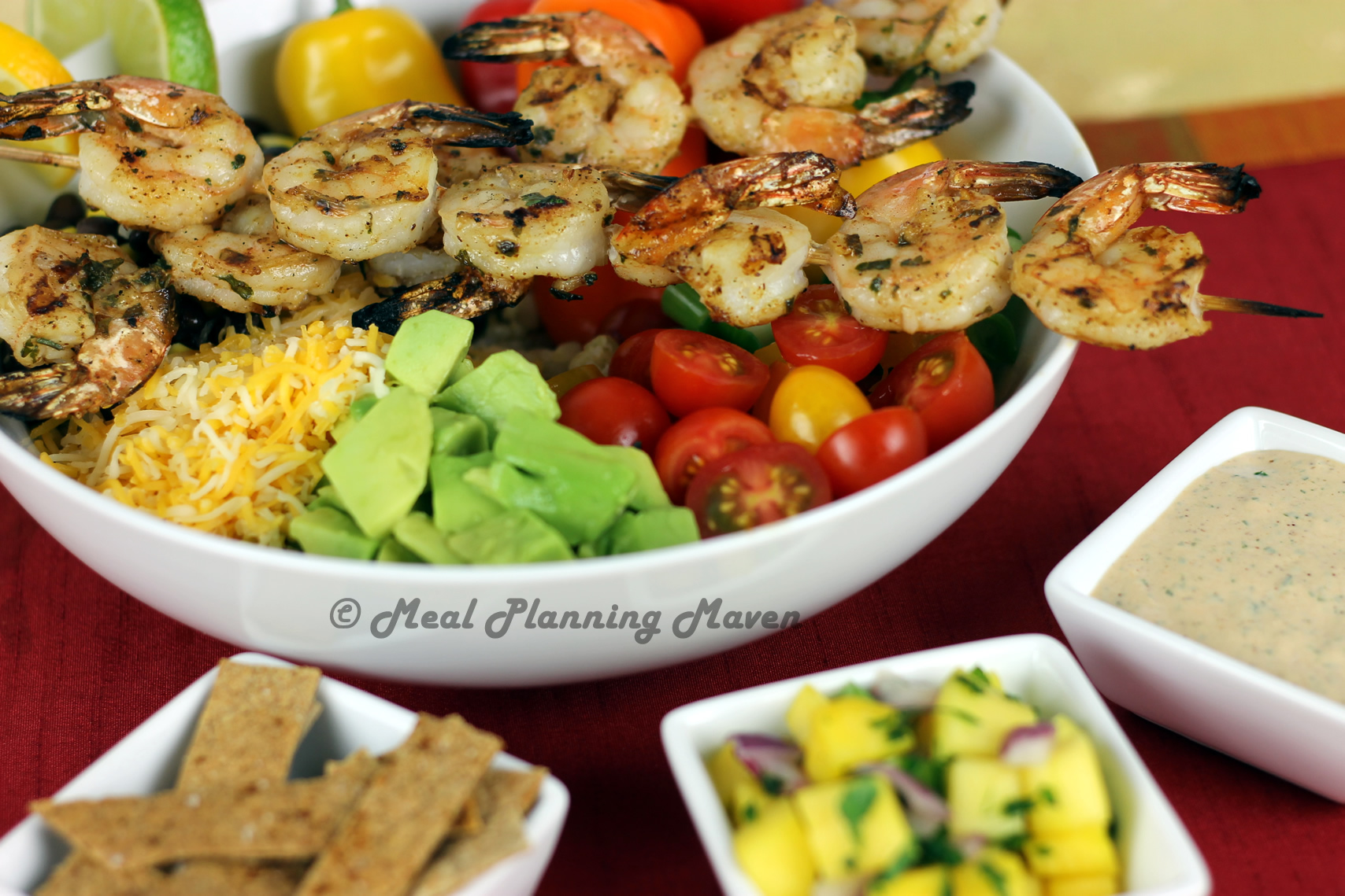 Grilled Mexican Shrimp Kabob Bowls