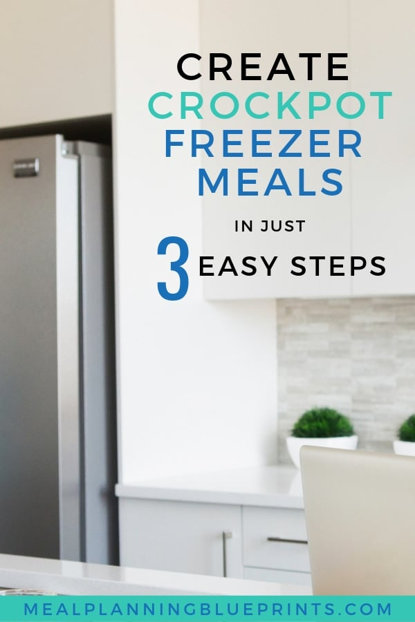 Create Crockpot Freezer Meals in 3 easy steps! This step by step post walks you through how to make ahead freezer meal dinners super fast. Use the free printable Freezer Meals Planner and Checklist to save yourself time in the kitchen! #freezermeals #mealplanning #crockpotfreezermeals