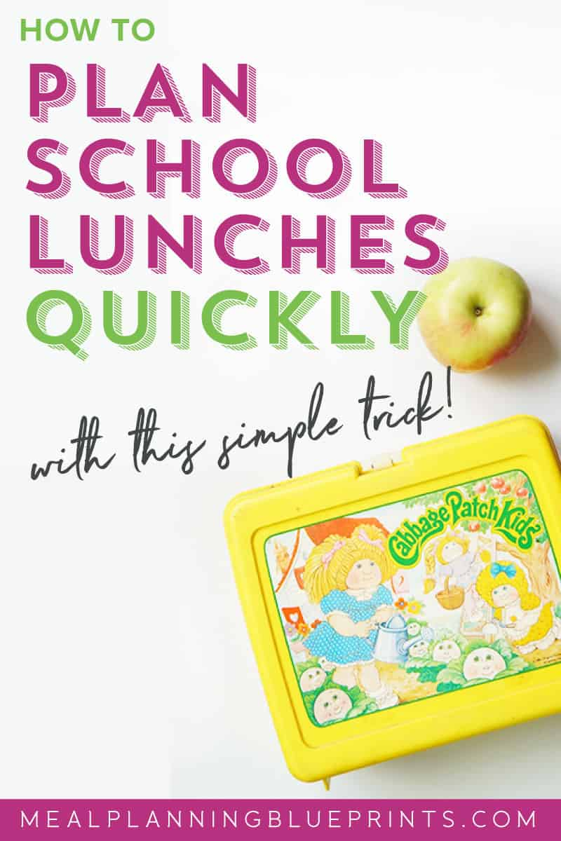 Quickly plan your back to school lunches with this simple trick! And a free school lunch planner download!