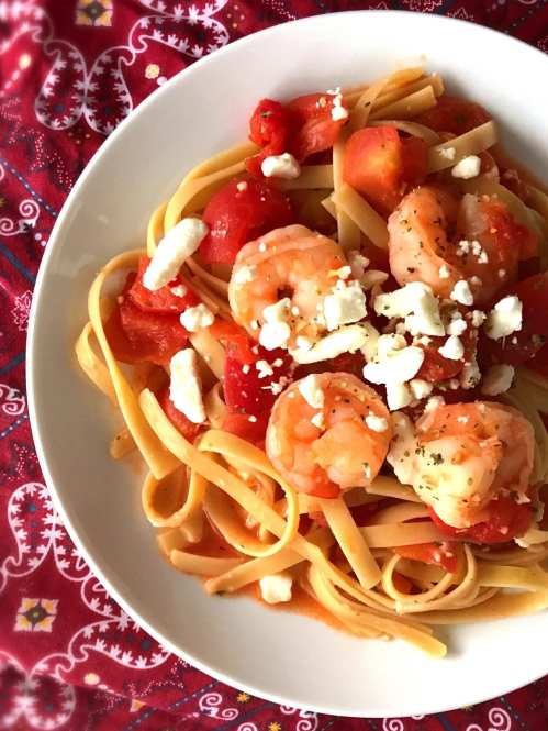 Tomatoes, Shrimp, and Goat Cheese over Pasta