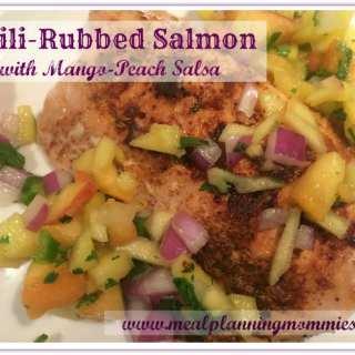 Chili-Rubbed Salmon with Mango-Peach Salsa 7 WW P+