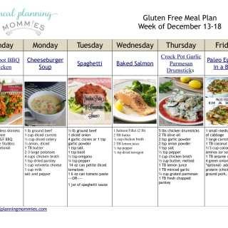 Gluten Free Meal Plan December 13-18