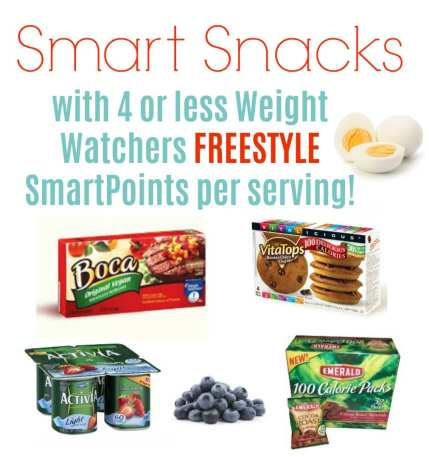 Smart snacks that are 4 WW FreeStyle Smart Points of less per serving.
