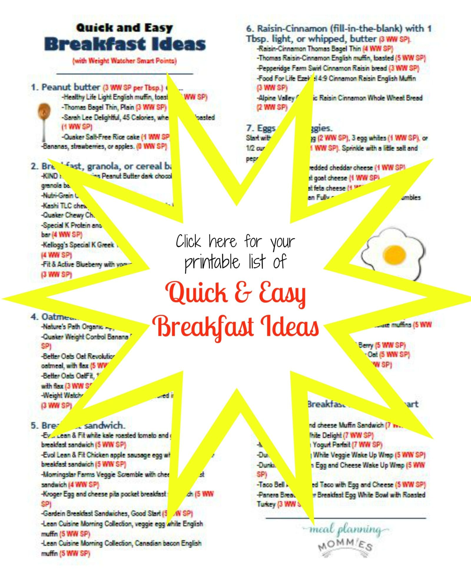Quick And Easy Breakfast Ideas With Weight Watcher