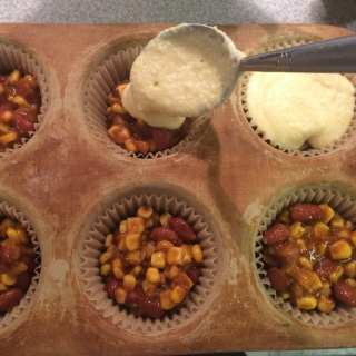 Individual Servings Cooking Concept & Chili Cornbread Pies