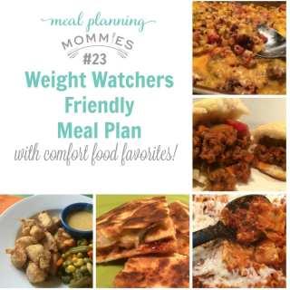Comfort Food Favorites WW Friendly Meal Plan #23