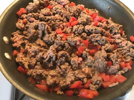 ground beef cooked in taco seasoning for tostada