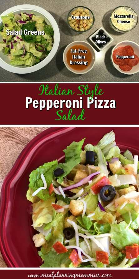 Italian Style Pepperoni Pizza Salad on Meal Planning Mommies