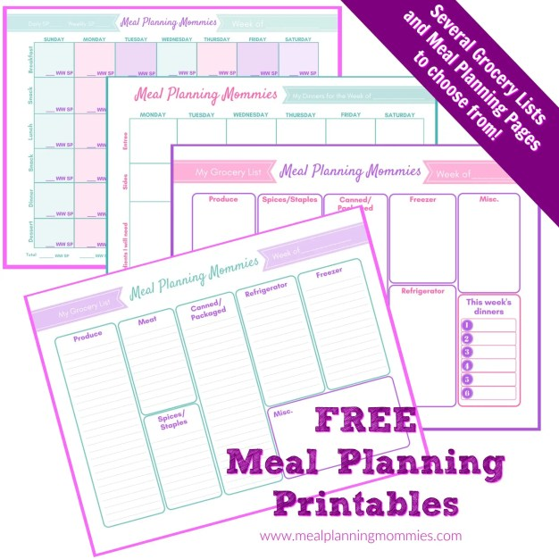 Grocery lists and meal planning page printables