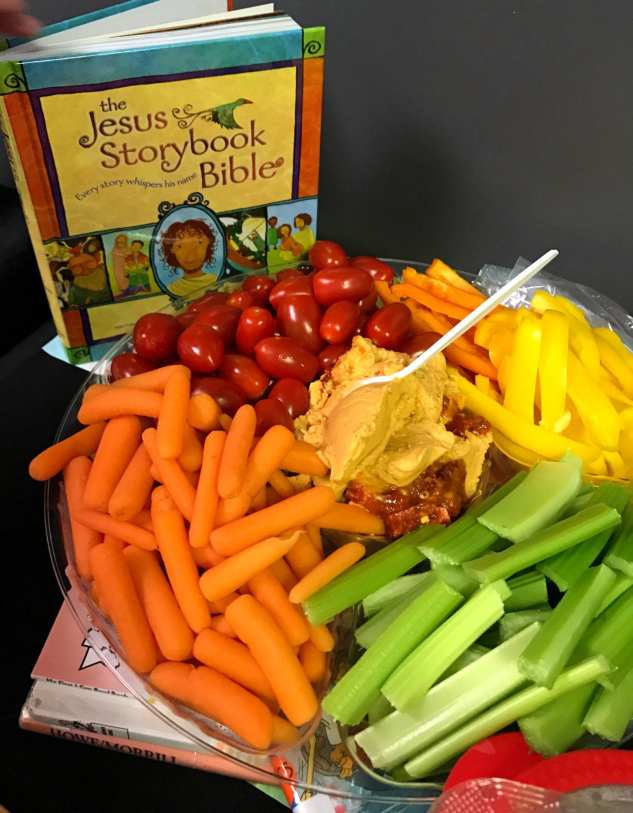 veggie tray snack with the Jesus Storybook Bible