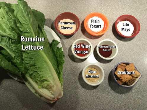 Ingredients for Weight Watcher Caesar salad