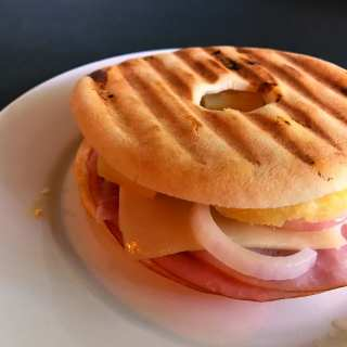 Grilled Hawaiian Bagel Panini