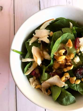 Turkey Walnut Honey Dijon Spinach Salad