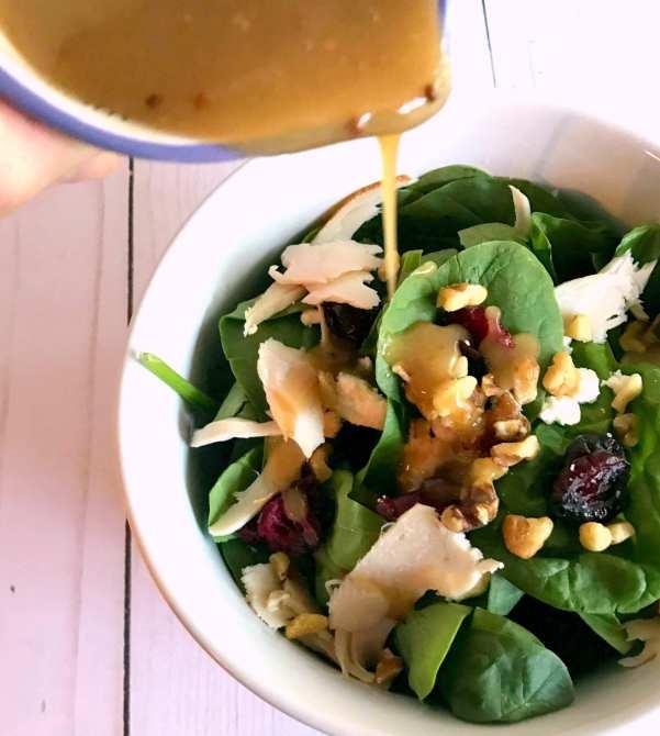 Turkey-Walnut Honey Dijon Spinach Salad on Meal Planning Mommies
