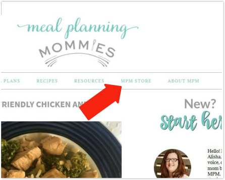 New Meal Planning Mommies store to buy eCookbooks