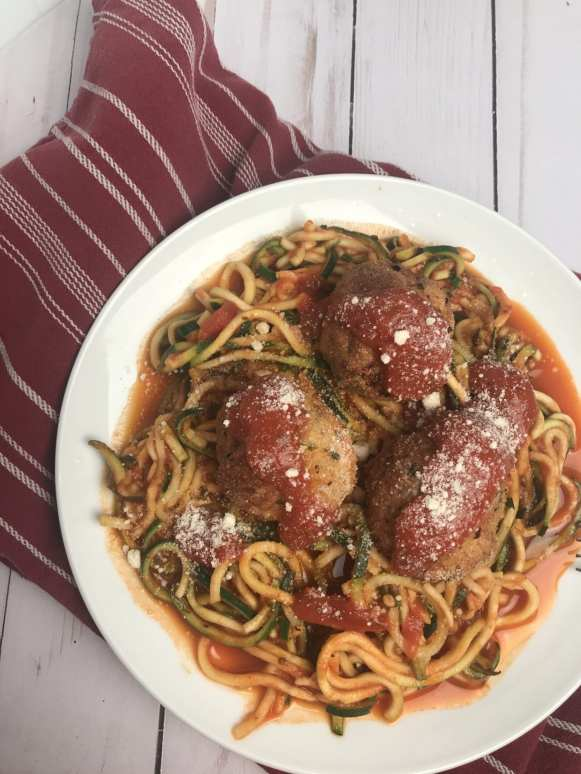 Italian Turkey Meatballs with Zoodles and Sauce