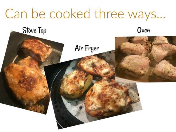 Cook Mayonnaise Garlic & Herb chicken in you air fryer, oven, or on your stove-top