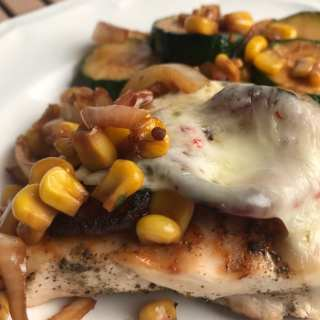 Grilled Pepper Jack Chicken with Zucchini & Corn Sauté